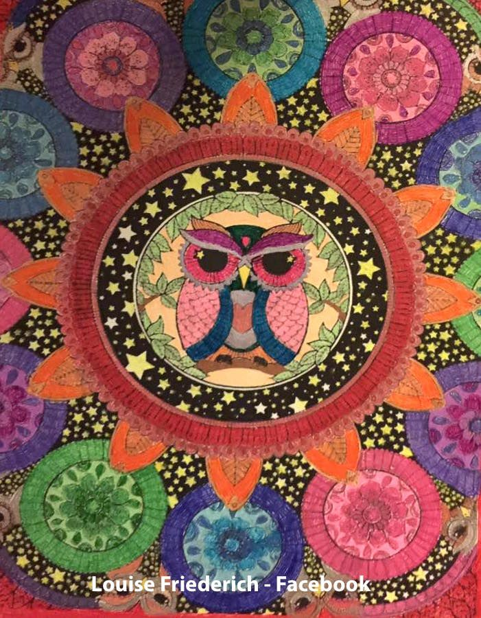 Louise Friederich Owls Coloring Page