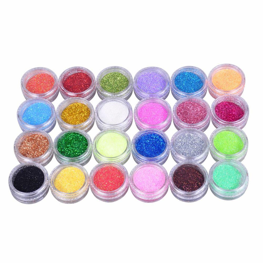 24 Farben Nagel Glitter Pulver Staub 3D Maniküre Werkzeuge ...