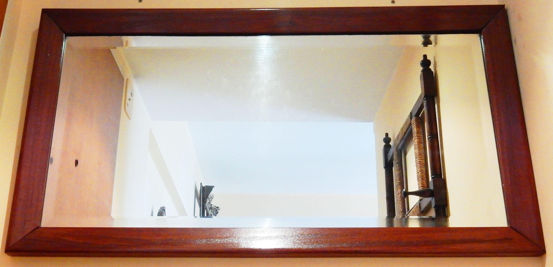 Espejo biselado rectangular marco madera 95 x 50 (Borde marco 6cm ...