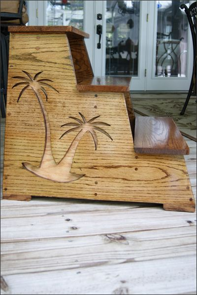 Custom Order Wooden Three Step Stool With Palm Trees