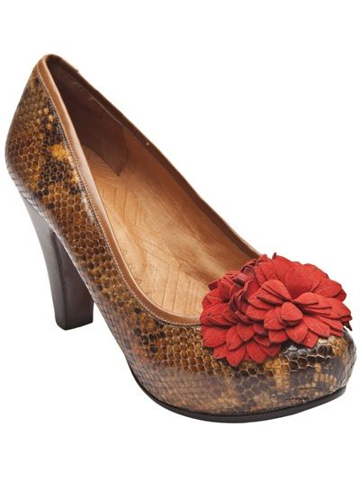 87311486ea0f9 Nerito snake print pumps from Chie Mihara. These brown snake skin pumps  feature a round toe
