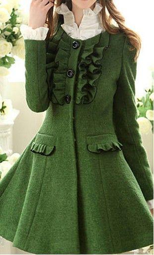 9f7c873237f Verde musgo! Gostei | Vestidos | Abrigos, Abrigos lindo y Abrigos y ...