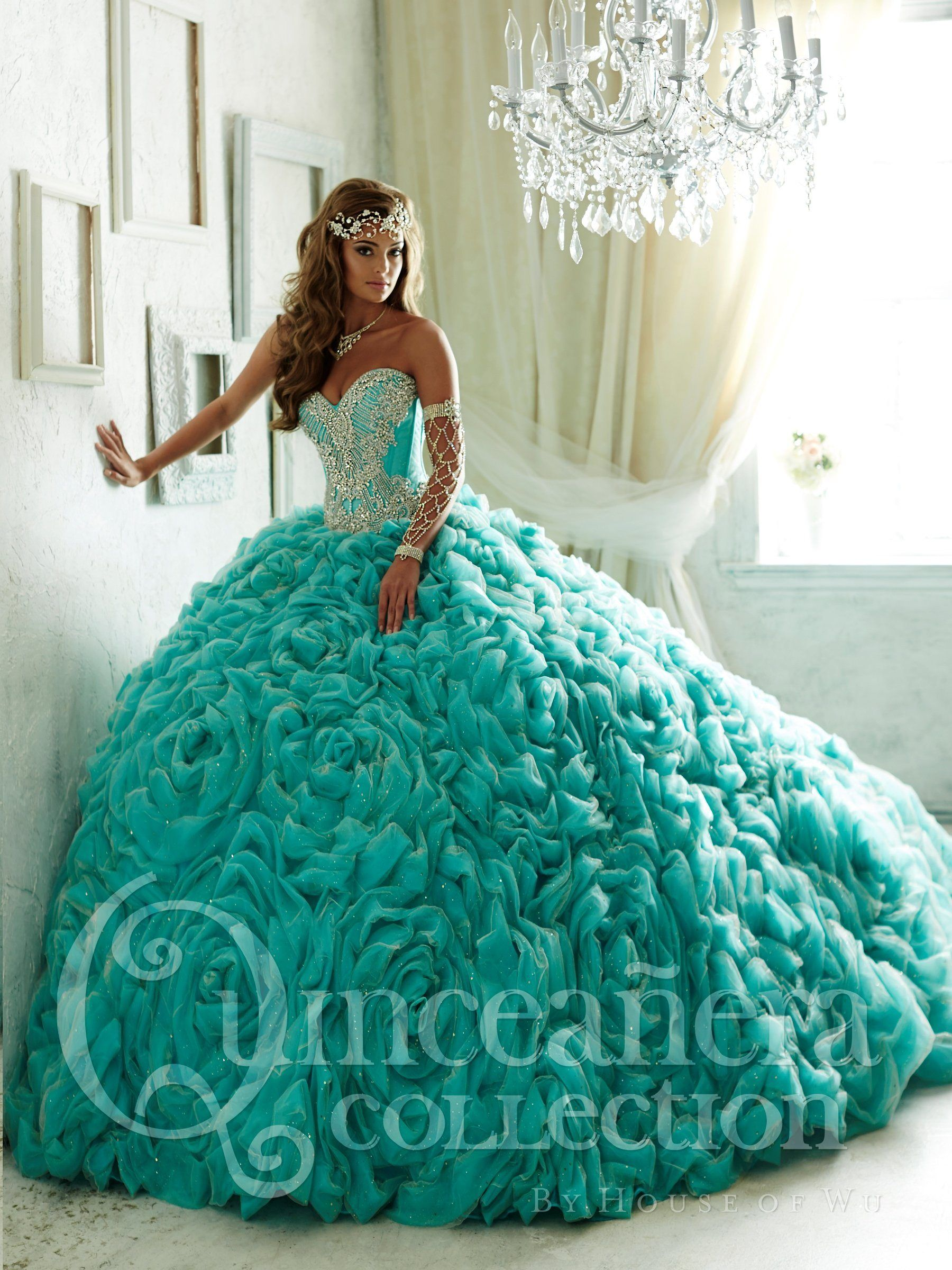 Ruffled Strapless Quinceanera Dress by House of Wu