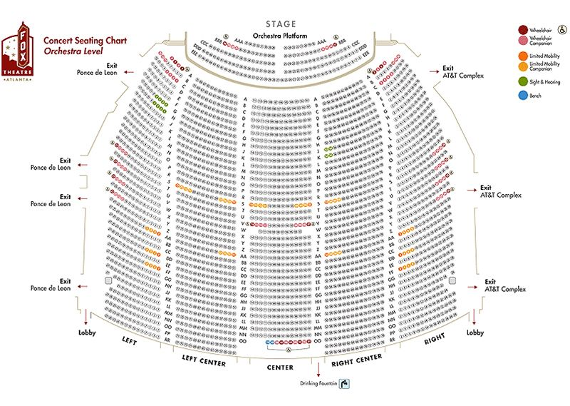 Image result for fox theater seating chart with seat numbers atlanta
