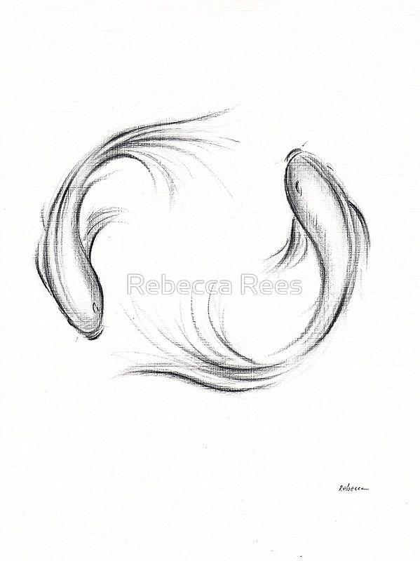 'Seijaku - Tranquil Koi charcoal drawing' Art Prin