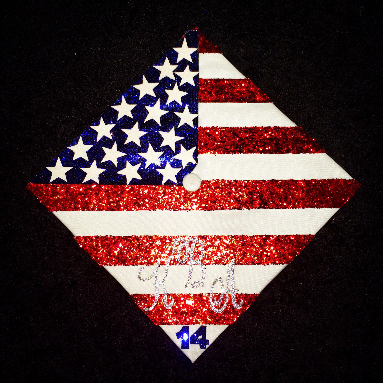 American Flag Grad Cap Decoration Classof14 Graduation Cap