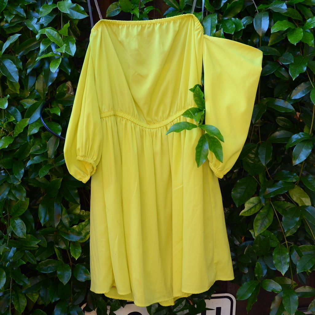 Neon offshoulder flowy dress neon and products