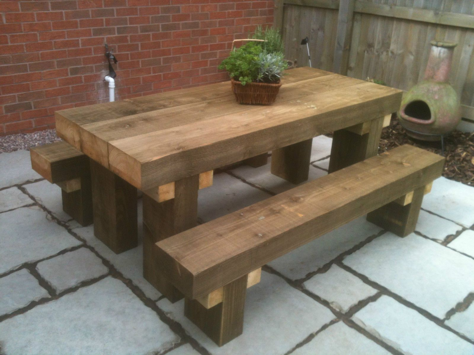 SLEEPER PICNIC TABLE & SEATS 9FT LONG CHUNKY TANALISED RUSTIC LOOK
