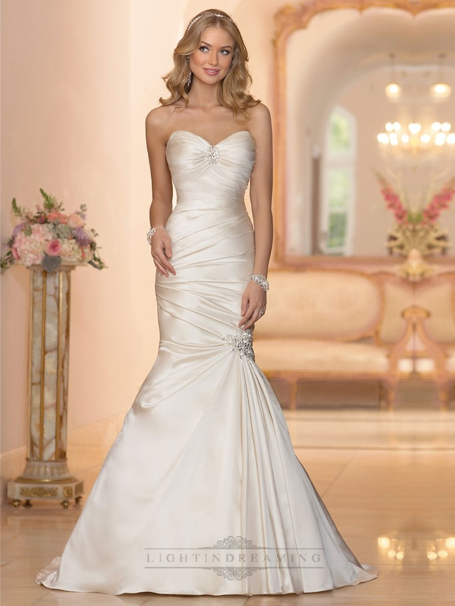 Embellishment sweetheart neckline asymmetrical ruched fit for Sweetheart neckline ruched bodice wedding dress
