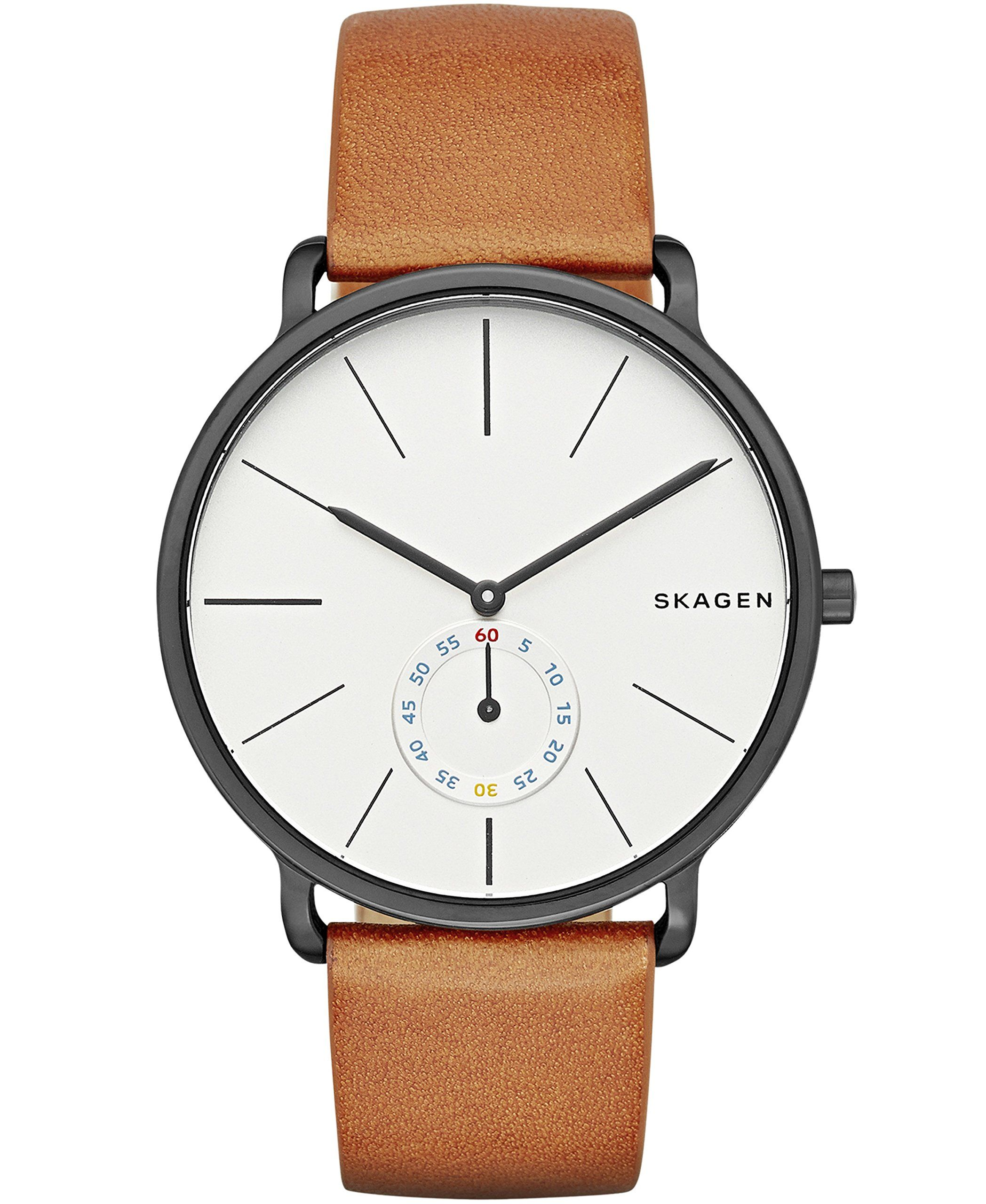 brown tan connected unisex fullscreen watch skagen view accessories hybrid hagen leather smart strap watches lyst