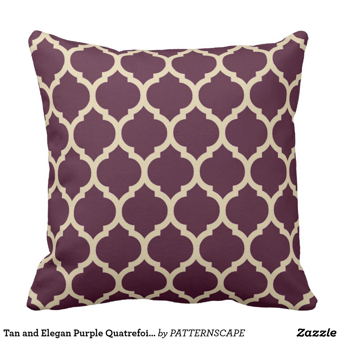 Tan And Elegan Purple Quatrefoil Moroccan Lattice Throw Pillow Zazzle Com Purple Throw Pillows Purple Pillows Lattice Pillow