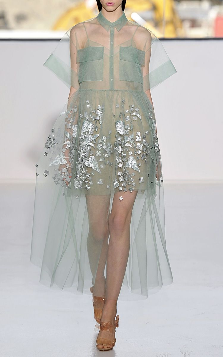 Delpozo Blue Print Embroidered Bobbinet Tulle Dress  17 56ac55bf2