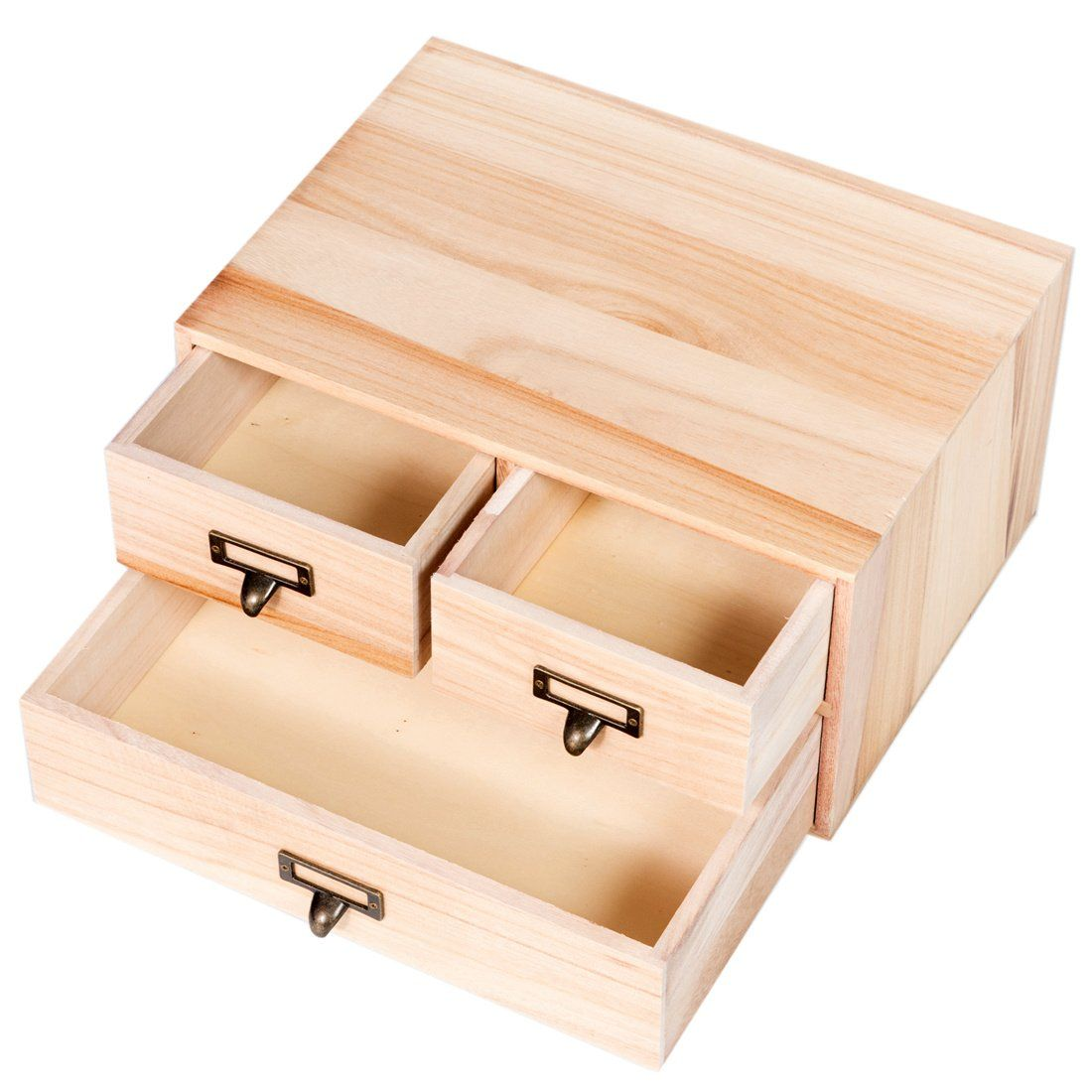 Good Life 3 Drawers Wooden Jewelry Pastel Organizer Storage Box Art Desktop Small Wood Cabinet Box 14 X 10 X Wood Storage Box Wooden Organizer Wooden Storage