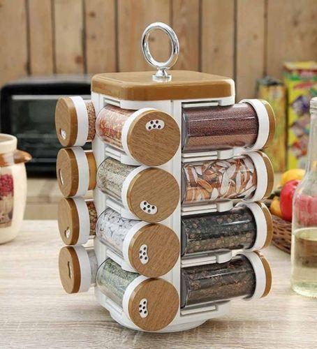 Jvs Kitchen Mate Wood Finish Revolving Spice Rack 16 Jar Unit Free Shipping