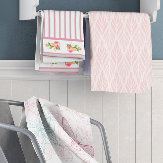 Shabby Chic Pink And Mint Rose Shower Curtain With Matching Towels