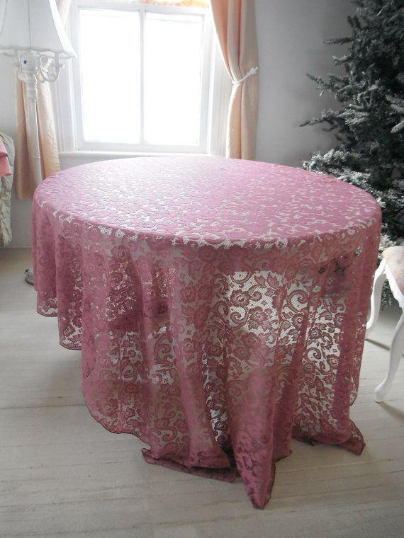 Dusky Pink Rectangular Tablecloth Shabby Chic French By ShabbyRoad, $20.00