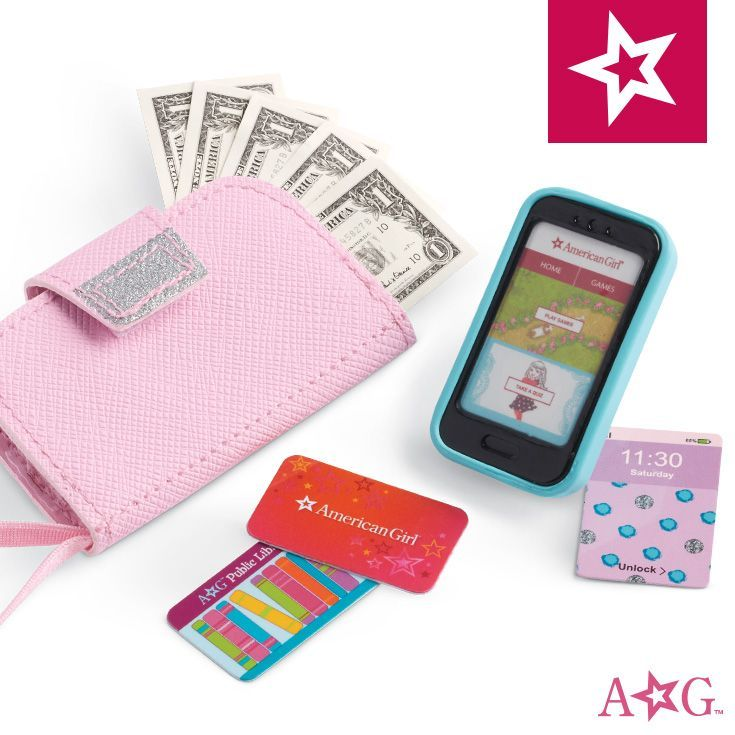 New Truly Me Doll accessories include: wristlet with pockets, pretend cellphone, pretend library card, pretend AG gift card, pretend dollar bills. #dollaccessories