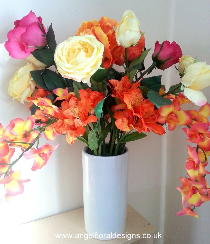 SILK FLOWER ARRANGMENT, ARTIFICIAL FLOWERS, VASE, MIXED FLOWERS, HOME DECOR ,GIFT