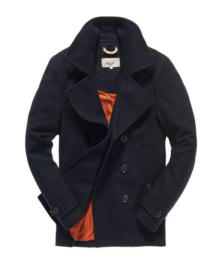 Mens - Commodity Slim Pea Coat in Dark Navy | Superdry | Clothes ...