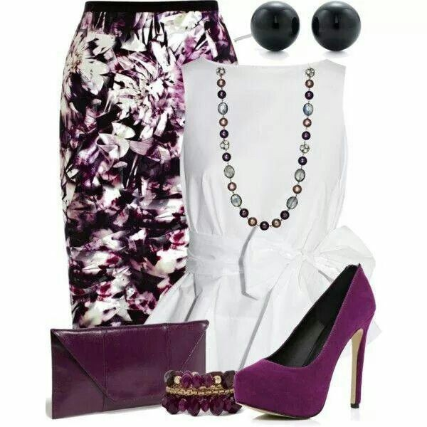 Plum and white outfit