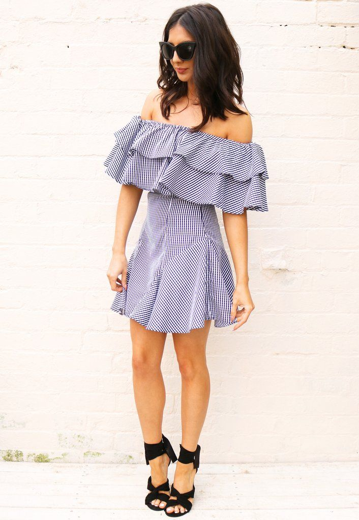 d327568d3de1 Gingham Frill Top Off The Shoulder Fit & Flare Dress in Black & White
