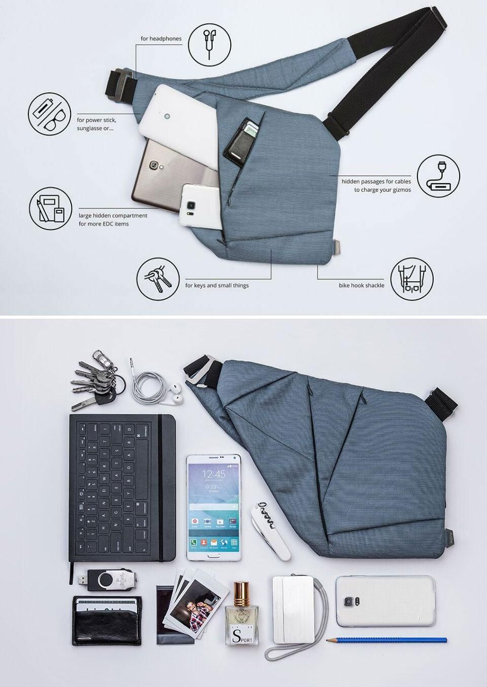 Baggizmo was designed to always stay slim, even when you stuff a lot of gadgets into it.