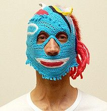 Aldo Lanzini Crocheted Masks Hats...... hmmmmmmm. Not sure about this. Very Pinteresting.