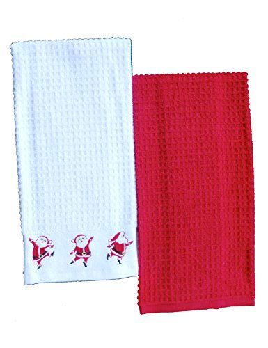 Happy Little Dancing Santas Embroidered Hand Kitchen Bar Guest Towels Set of 2 100 Cotton Towels 1 Embroidered White  Coordinating Plain Red * More info could be found at the affiliate link Amazon.com on image.