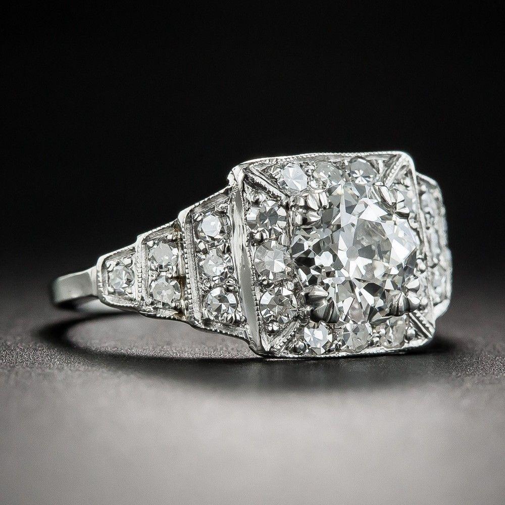 Art Deco 1.13 Carat Diamond Platinum Engagement Ring GIA
