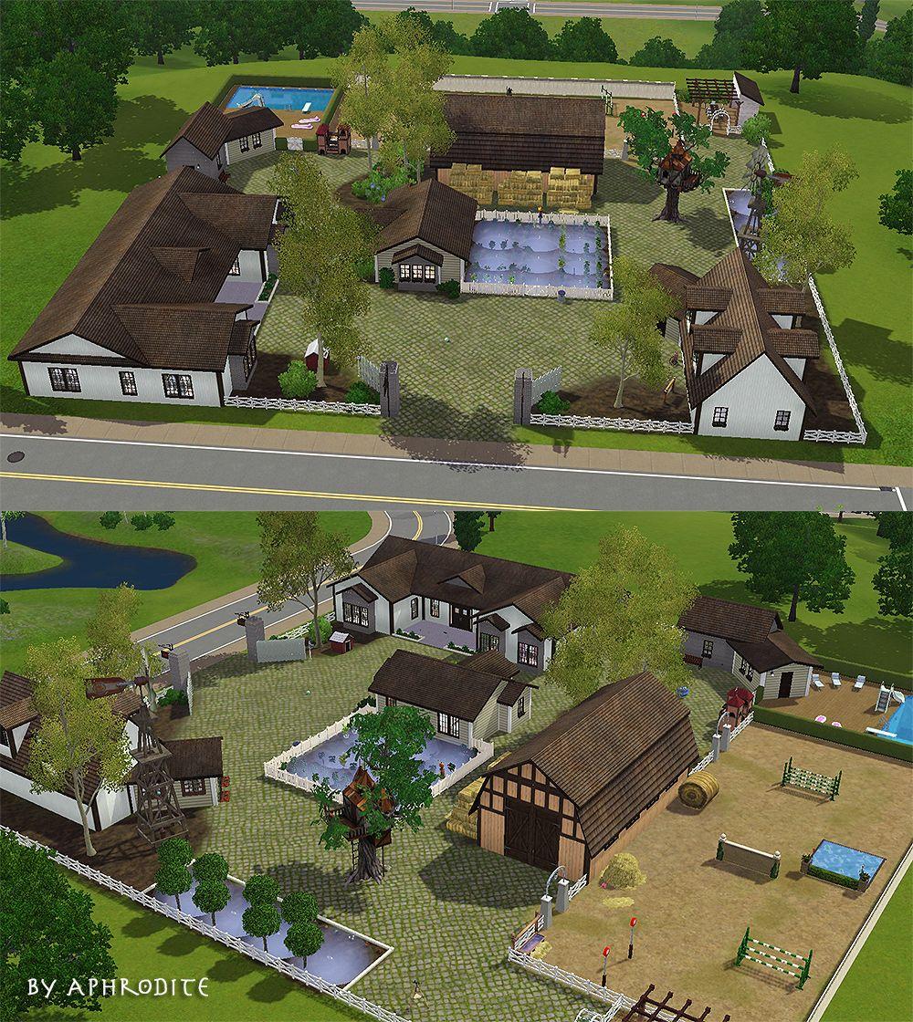 Große Farm Mit Nebengebäuden   Grundstücke   Sims 3 Polygon Art.  PferdeReitenHaus IdeenGrundrisseSpieleLandschaftenArchitektur WohnenPolygon Kunst