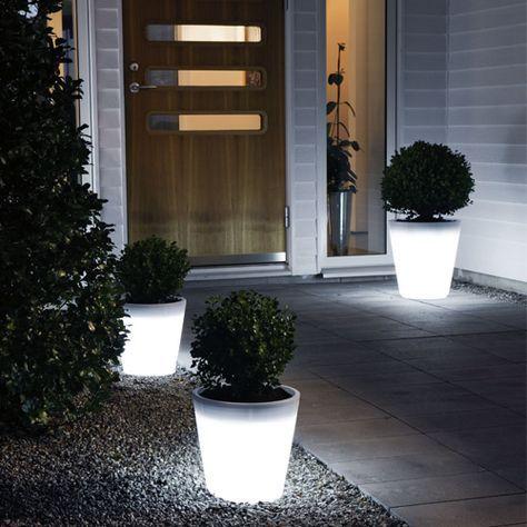 Konstsmide Large Assisi Led Planter Feature Light Garden Lighting Design Solar Lights Garden Modern Planters Outdoor