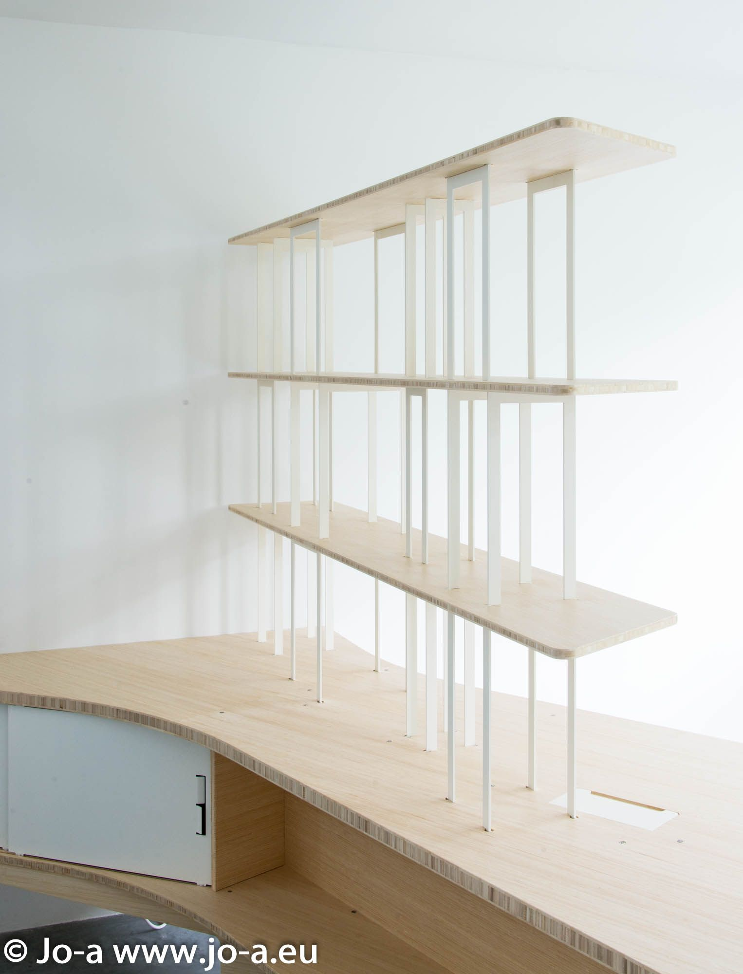 Arches Bookshelf Integrated With Home Office Desk Custom Furniture Design