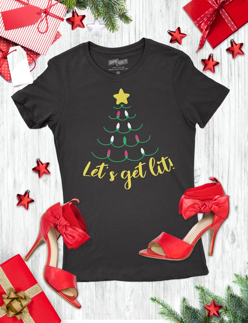 Let S Get Lit Holiday T Shirt Designs Frog Prince Paperie Diy Christmas Shirts Christmas Shirts Personalized T Shirts
