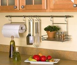 Curtain Rod With Shower Curtain Hooks To Hang Up Utensils Etc