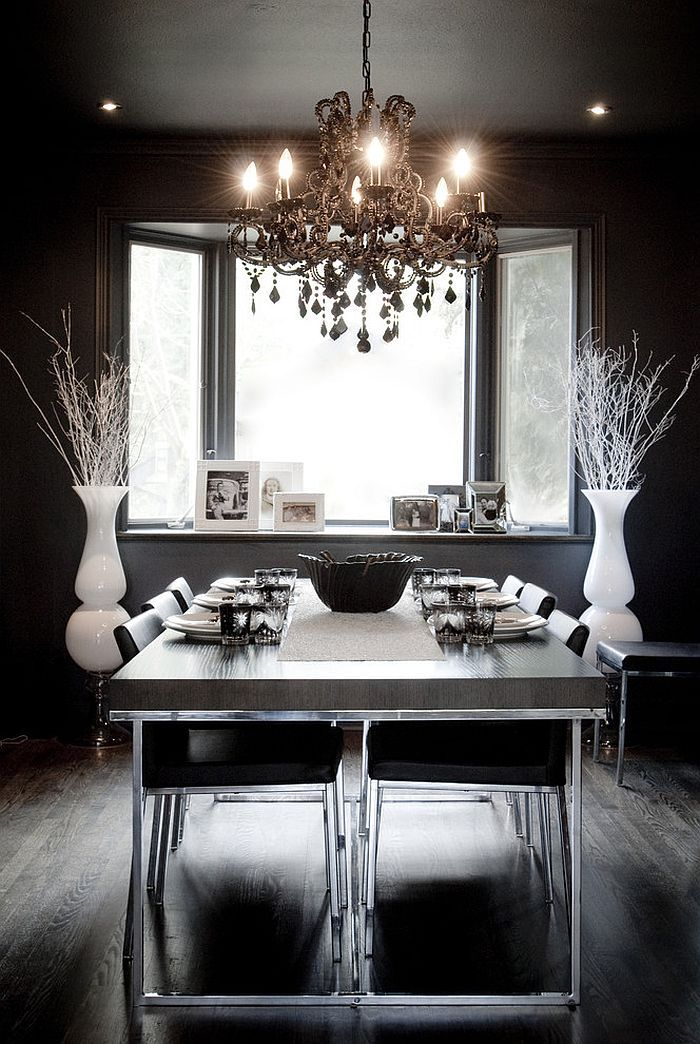 Eclectic Dining Room In Black With Hints Of White Design Gaile Guevara
