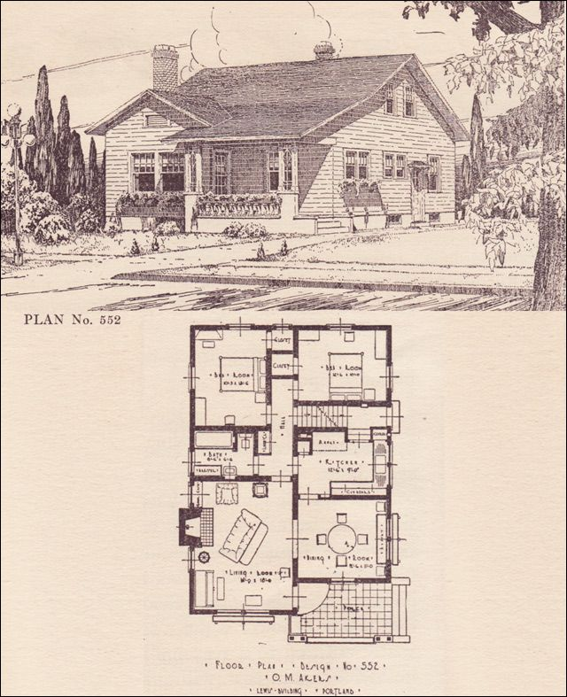 1920s Modern Traditional Bungalow No 552 Architect The Telegram Plan Book Portland Or Craftsman Style House Plans Cottage Floor Plans Sims House Plans