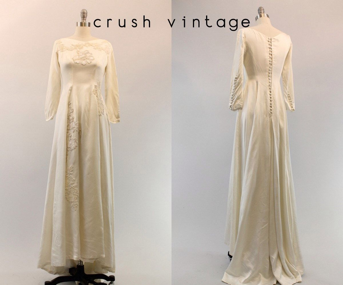40s Beaded Wedding Dress XS  / 1940s Bridal Dress /  If I Fell Gown by CrushVintage on Etsy https://www.etsy.com/listing/196378374/40s-beaded-wedding-dress-xs-1940s-bridal