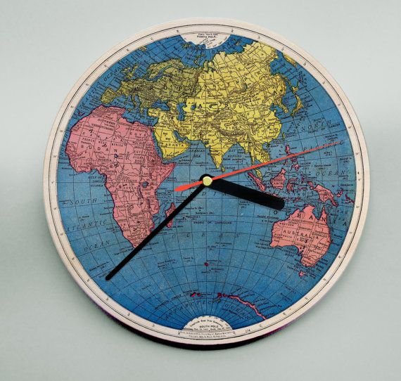 World map clock atlas clock personalised clock modern wooden world map clock atlas clock personalised by mrwolfeclocks gumiabroncs Images