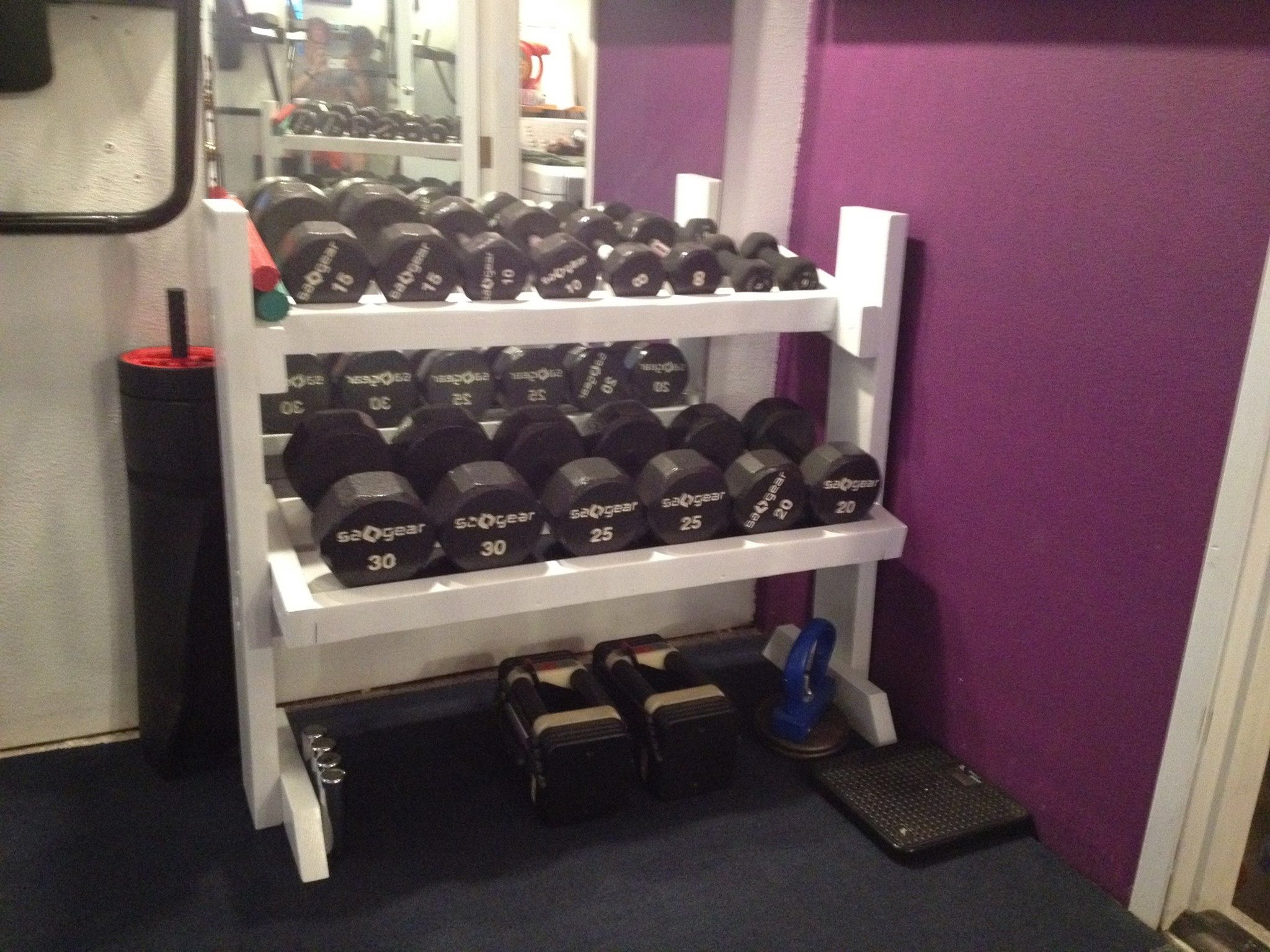 my gym home and dumbbells wooden rack setup with fbeed com squat