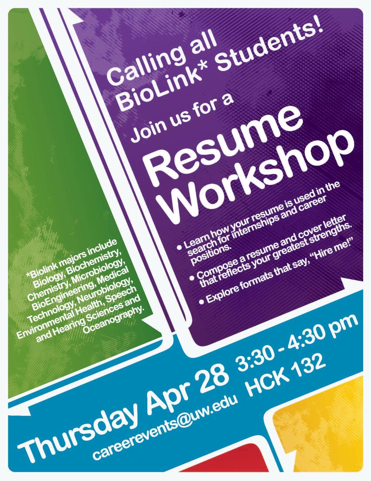 Resume Workshop Poster Resume Sample Flyers Workshop