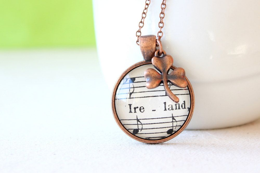 Irish pride necklace made with vintage sheet music $30.00, via Etsy.