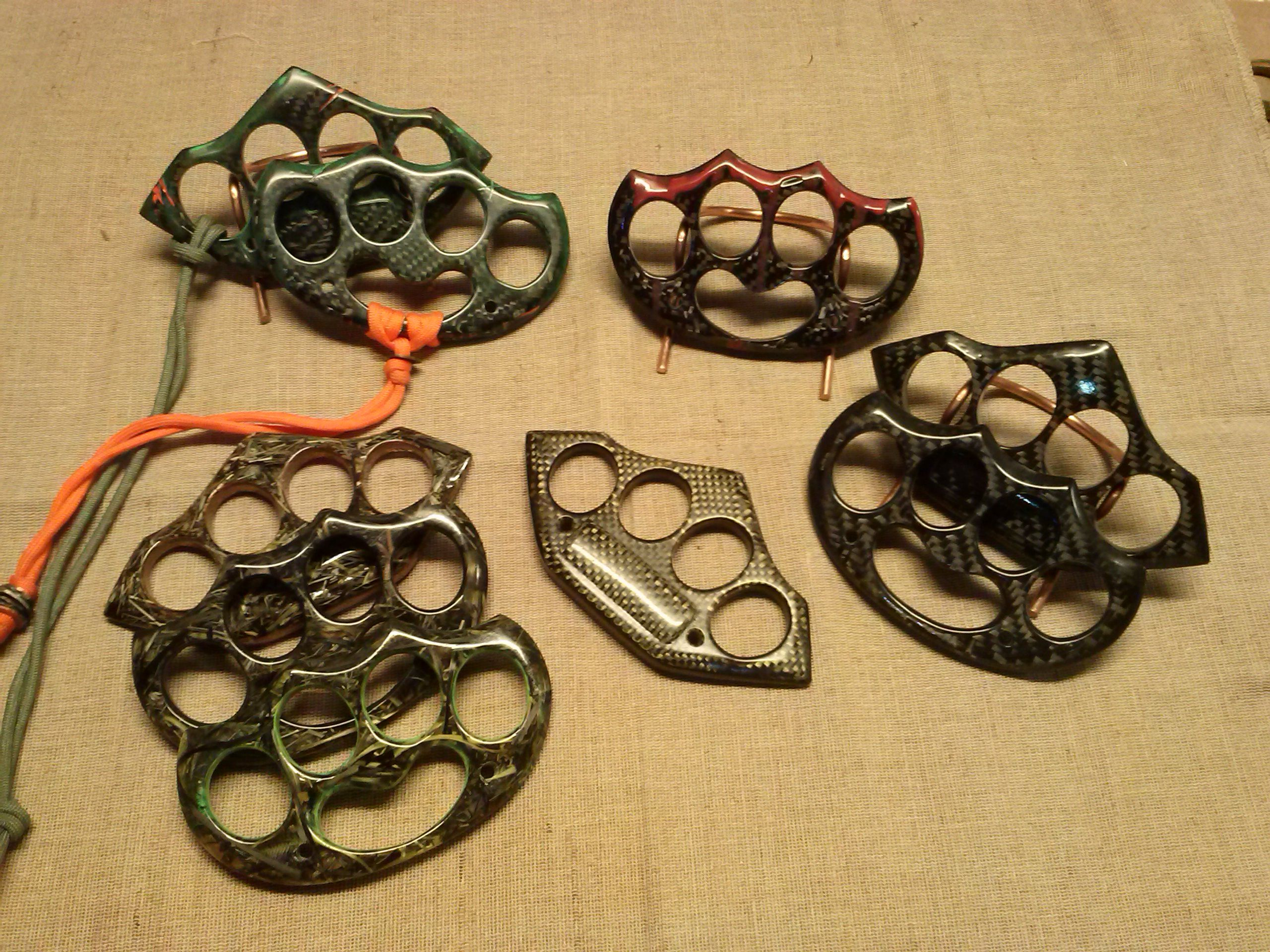 Wooden Knuckles Carbon Fiber Kevlar And Camo Chaos Knuckle Dusters Brass