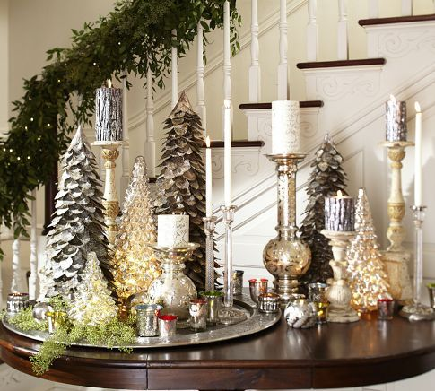 Lovely Display Of Tree Candles And Mercury Glass Trees And Pillar Holders By Pottery Barn Christmas Centerpieces Christmas Table Centerpieces Holiday Decor