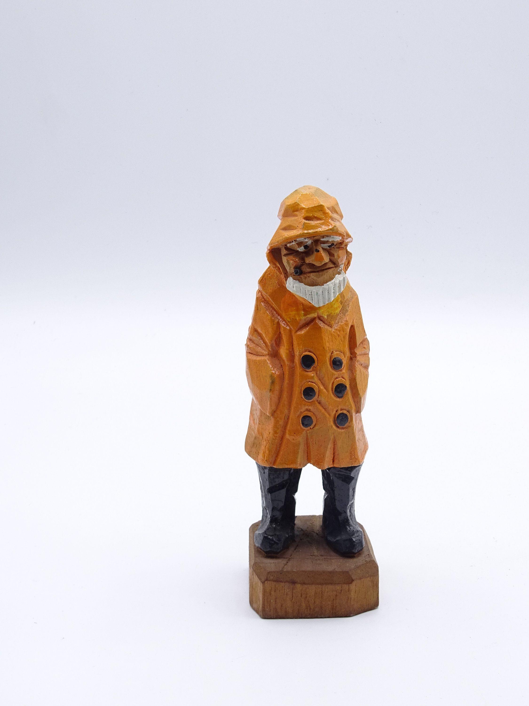 Hannah Style Hand Carved Fisherman Figurine Folk Art Naif Etsy