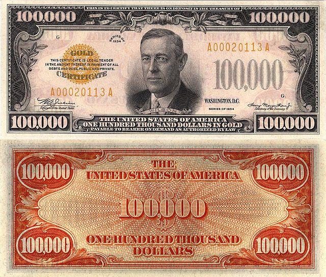 100 000 Note 1934 Series Portrait Of President Woodrow