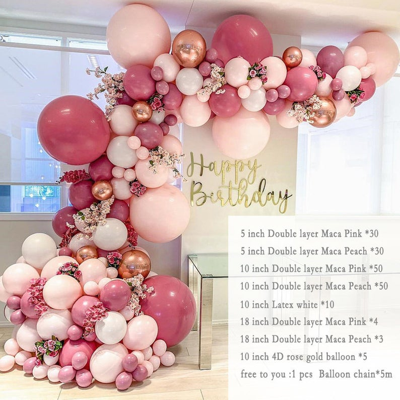 DIY Retro Dusty Pink Balloon Garland Arch Kit Rose Gold