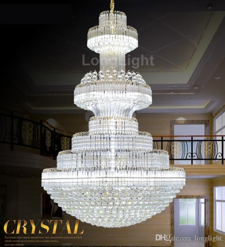 Large Led Modern Chandelier Lighting Luxury Cristal Upscale K9 Gold Crystal  Chandeliers Lustre Lustre Living Room Lobby Hotel Entryway Chandelier Metal  ...