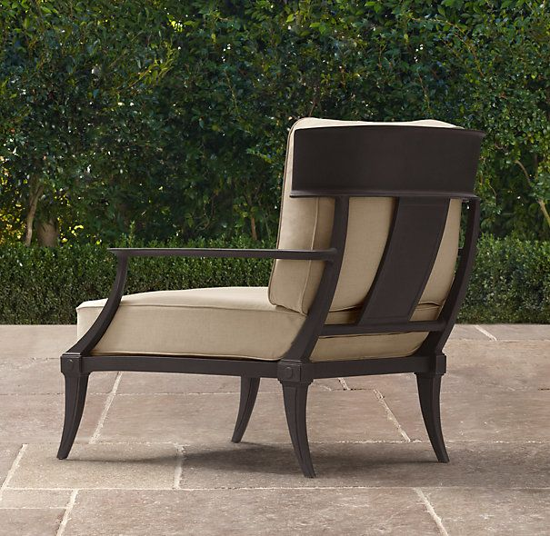 klismos luxe lounge chair painted metal ottomans restoration hardware - Restoration Hardware Outdoor Furniture