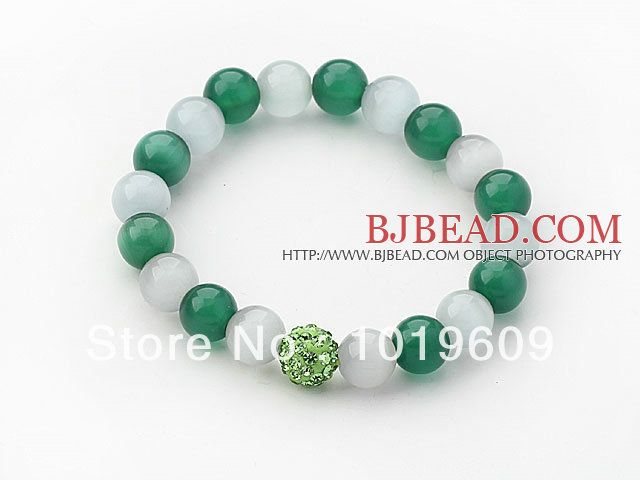 Aliexpress.com : Buy Free Shipping simple design hot grey and green color cats eye and rhinestone beaded bracelet from Reliable Special Stor...