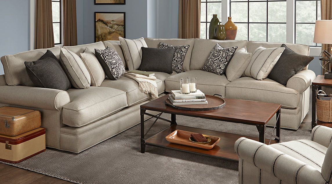 Cindy Crawford Home Lincoln Square Beige 3 Pc Sectional X Find Affordable Living Room Sets For Your That Will Complement The Rest Of Furniture